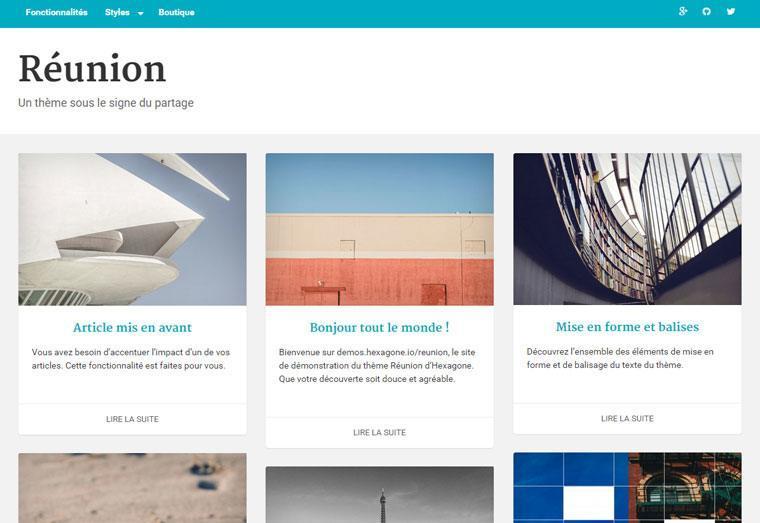 Réunion,  le thème premium offert par Hexagone.io