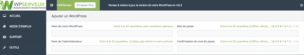 Configuration simple du WordPress